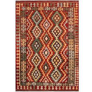 Herat Oriental Afghan Hand-woven Tribal Kilim Red/ Tan Wool Rug (4'3 x 5'11)