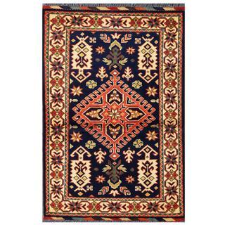 Herat Oriental Afghan Hand-knotted Tribal Kargahi Navy/ Salmon Wool Rug (2'9 x 4'2)