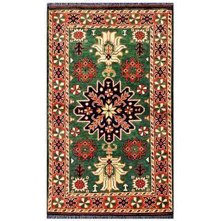 Herat Oriental Afghan Hand-knotted Tribal Kargahi Green/ Ivory Wool Rug (2'7 x 4'4)