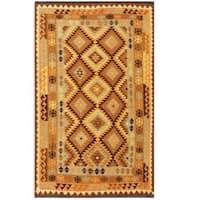 Handmade Herat Oriental Afghan Tribal Wool Kilim (Afghanistan) - 4'11 x 8'4