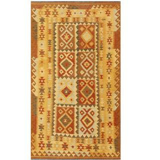 Herat Oriental Afghan Hand-woven Tribal Kilim Rust/ Ivory Wool Rug (5' x 8'5)