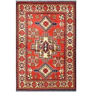Herat Oriental Afghan Hand-knotted Tribal Kargahi Red/ Ivory Wool Rug (3'3 x 4'9)