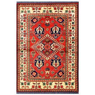 Herat Oriental Afghan Hand-knotted Tribal Kargahi Red/ Ivory Wool Rug (3'5 x 4'11)