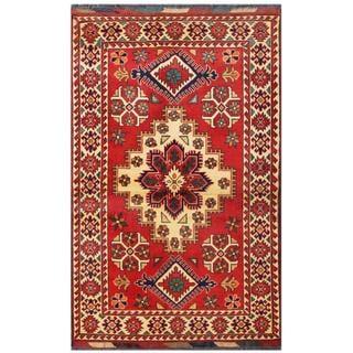 Herat Oriental Afghan Hand-knotted Tribal Kargahi Red/ Ivory Wool Rug (3'3 x 5'1)