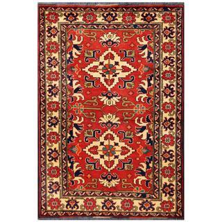 Herat Oriental Afghan Hand-knotted Tribal Kargahi Red/ Ivory Wool Rug (3'2 x 4'9)