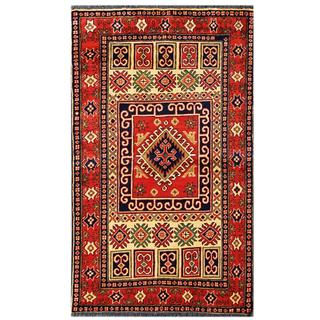 Herat Oriental Afghan Hand-knotted Tribal Kargahi Red/ Ivory Wool Rug (3'3 x 5'5)