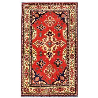 Herat Oriental Afghan Hand-knotted Tribal Kargahi Wool Rug (3'1 x 5'3)