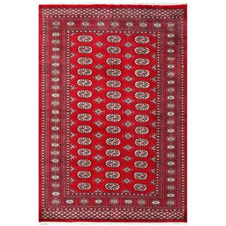 Herat Oriental Pakistani Hand-knotted Bokhara Red/ Tan Wool Area Rug (4'5 x 6'6)