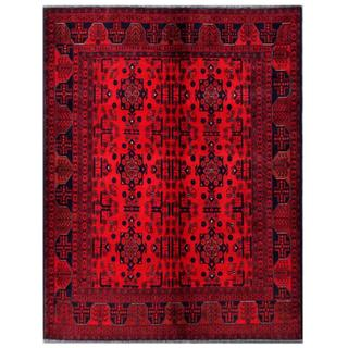 Herat Oriental Afghan Hand-knotted Tribal Khal Mohammadi Red/ Navy Wool Rug (4'11 x 6'4)