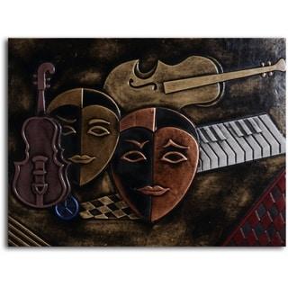 Handmade 'Masked Trio' Leather Wall Art
