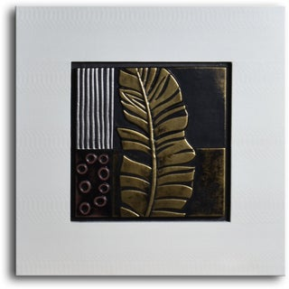 Handmade 'Embossed Banana Frond' Leather Wall Art