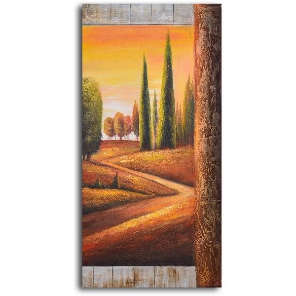 Hand-painted 'Sunlit Poplars' Oil Painting
