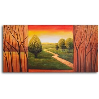 Hand-painted 'Verdant View in Sticks' Oil Painting