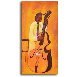 Hand-painted 'Yellow Jacket Cellist' Oil Painting