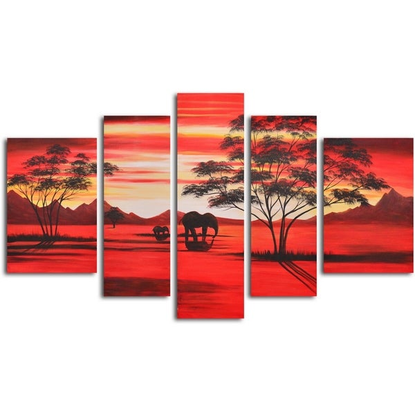 Hand-painted 'African Sunrise' Oil Painting