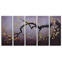 Hand-painted 'Japanese Branch Charcoal Sky' Oil Painting