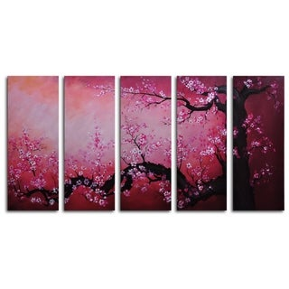 Hand-painted 'Cochineal Black Trunked Cherry' Oil Painting
