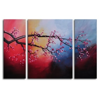 Hand-painted 'Cotton Candy Sky Blossom' Oil Painting