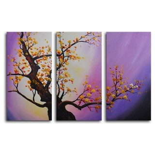 Hand-painted 'Autumn Leaves, Purple Aura' Oil Painting