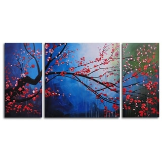 Hand-painted 'Stormy Cherry Tree' Oil Painting