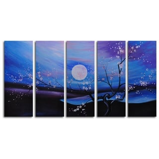 Hand-painted 'Moonlit Pond' Oil Painting