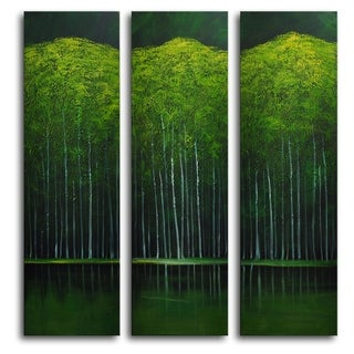 Hand-painted 'Aspens on Evening Lake' Oil Painting