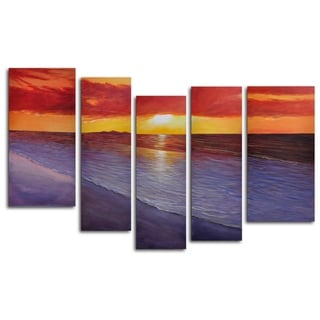 Hand-painted 'Twilight Shore' Oil Painting