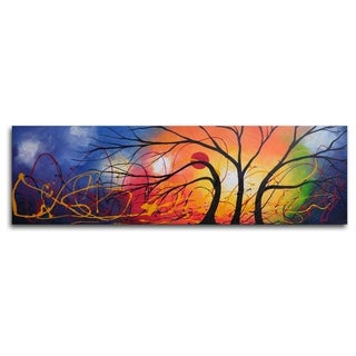 Hand-painted 'Ethereal Trees Dance' Oil Painting