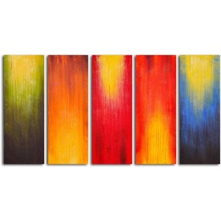 Hand-painted 'Paintbrush Panels of Color' Oil Painting