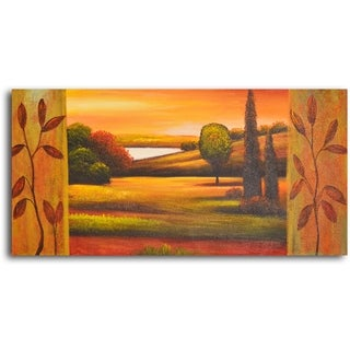Hand-painted 'Pasture to Lake' Oil Painting