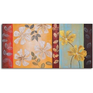 Hand-painted 'Silver to Gold Flowers' Oil Painting