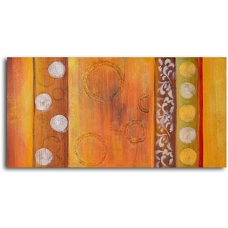 Hand-painted 'Embossed Gold Bubbles' Oil Painting