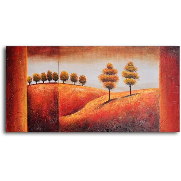 Hand-painted 'Undulating Hills and Trees' Oil Painting