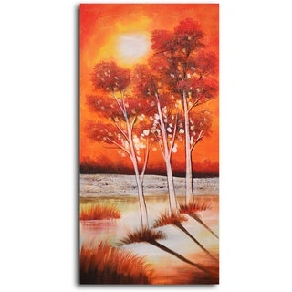 Hand-painted 'Trio of Moonlit Trees' Oil Painting