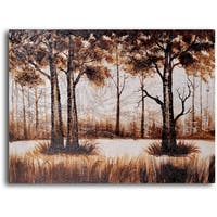 Hand-painted 'Trees in Sombre Wood' Oil Painting