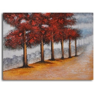 Hand-painted 'Trees Primped in Red' Oil Painting