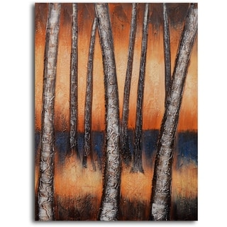 Hand-painted 'Metallic Tree Trunks' Oil Painting