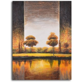 Hand-painted 'Backlit Meadow' Oil Painting