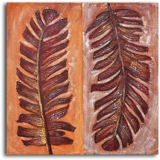 Hand-painted 'Frondship' Oil Painting