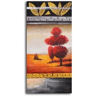 Hand-painted 'Red Velvet Tree' Oil Painting