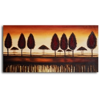 Hand-painted 'Bronze Tree-Lined Horizon' Oil Painting