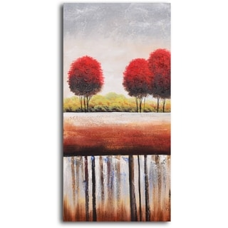 Hand-painted 'Red Cottonball Trees' Oil Painting