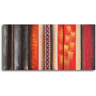 Hand-painted 'Brocade Columns' Oil Painting