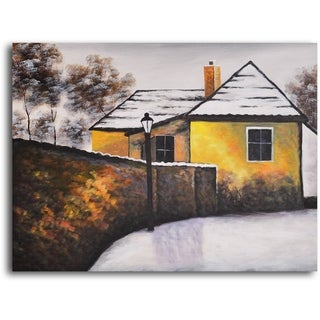Hand-painted 'House on the Corner' Oil Painting
