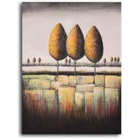 Hand-painted 'Tree Trio' Oil Painting