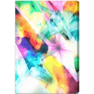 Oliver Gal 'Do You Believe' Fantasy and Sci-Fi Wall Art Canvas Print - Pink, Green