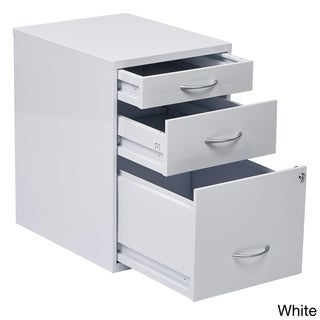 Locking Storage Drawer and Silver Handles File Cabinet  sc 1 st  Overstock.com : 3 drawer filing cabinet wood - Cheerinfomania.Com