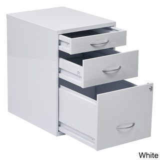 Office Star Products Metal Locking 3 Drawer File Cabinet With Silvertone  Handles