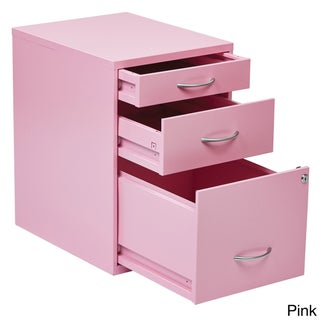 OSP Home Furnishings Locking Storage Drawer and Silver Handles File Cabinet