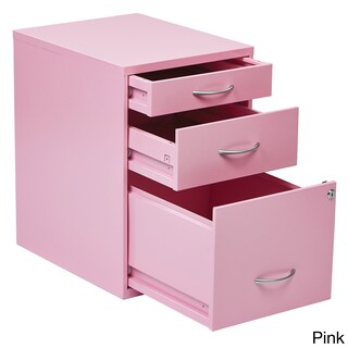 Office Star Products Metal Locking 3-drawer File Cabinet with Silvertone Handles (Option: Pink)